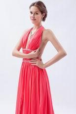 Beautiful Halter Top Watermelon Chiffon Prom Dress With Front Split