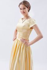 Short Sleeves Champagne Yellow Formal Celebrity Dress In Nevada