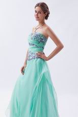 Brand New Light Cyan Celebrity Prom Dress With Embroidery