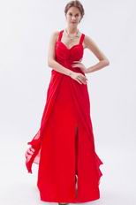 Exquisite Straps Front Split Skirt Scarlet Chiffon Prom Dress On Sale