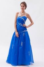 Pretty Ultramarine Organza Floor Length Prom Dress With Embriodery