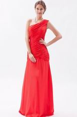 Cheap One Shoulder Ruched Bodice A-line Red Prom Dress Custom Fit