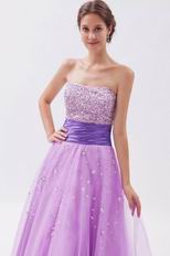 Noble Strapless Beaded Mallow Tulle Prom Party Dress With Belt