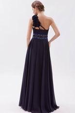 One Shoulder Flower Strap Black Chiffon Very Formal Dresses