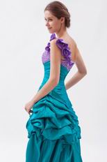 Popular Flowers Strap Sea Green High Low Prom Dress With Beading