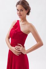 One Shoulder Ruffled Strap A-line Wine Red Prom Dresses