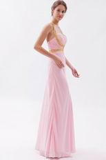 Cross Back Floor Length Skirt Baby Pink Prom Dress By Designer