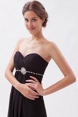 Romantic Sweetheart Black Chiffon Hand made Prom Dress