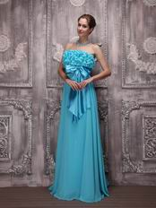 Aqua Blue Ruffles Chiffon Ebay Evening Dresses With Bowknot