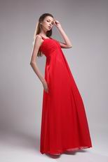 Straps Floor-length Red Chiffon Ruch Sweetheart Vest Prom Dress