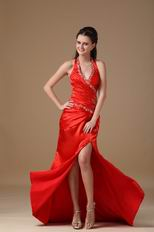 Sexy Halter Side Split Skirt Floor Length Scarlet Prom Dress