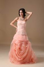 Fading Color Watermelon Prom Dress With Rolled Fabric Flowers