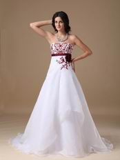 Cheap White Prom Dress With Wine Red Embroidery Details