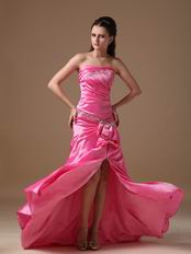 Strapless Side Split Skirt Lace Up Fuchsia Prom Type Dress