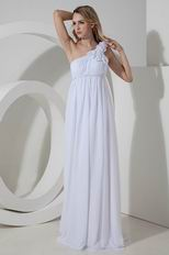One Shoulder Flowers Straps Maternity Bridal Prom Dress