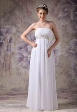 Cheap Floor-length White Chiffon Cranzy Handmade Prom Dress
