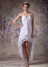 V-Shaped Strapless High-low Skirt White Chiffon Prom Girl Dress