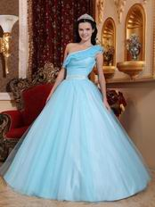 Trimed A-line One Shoulder Light Aquq Blue Prom Ball Gown
