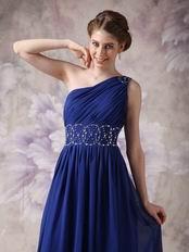 One Shoulder Backless Royal Blue Latest Prom Dress