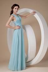V Neck Floor Length Chiffon Skirt Baby Blue Prom Dress Maker