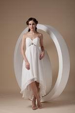 Cheap Spaghetti Straps White Chiffon High-low Prom Dress