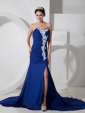 2014 Spring Royal Blue Prom Dress With High Leg Side Split