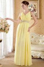 Beautiful V-neck Beaded Yellow Chiffon Dress For Prom Party