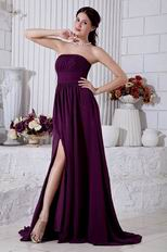 Elegant Strapless Ruched Dark Purple Chiffon Prom Dress With Split