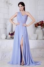 One Shoulder Beading A-line Lavender Chiffon Prom Dress With Split