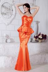 Petite Sweetheart Mermaid Skirt Orange Bridal Party Dress