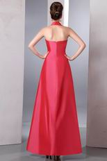 Simple Halter Sweetheart A-line Floor-Length Coral Red Celebrity Dress