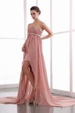 Salmon Pink Custom Fit Ruched High Low Chiffon Prom Dress