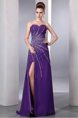 Sexy Beading Emberllish Eggplant Long Split Skirt Prom Dress