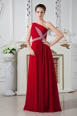 One Shoulder Wine Red Chiffon Prom Dresses With Beading
