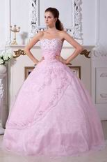 Inexpensive Sweetheart Pink Prom Ball Gown With Embroidery
