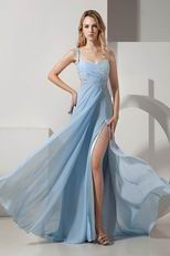 Baby Blue High Split Skirt Prom Evening Dress One Shoulder Neck