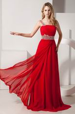 Dark Red One Shoulder A-line Prom Dress With Beading Belt