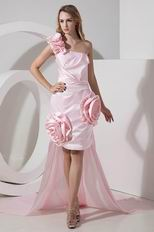 Unique One Shoulder Detachable Train Pink High Low Prom Dress