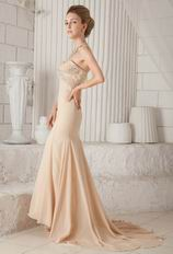 Sweetheart Champagne Chiffon Mermaid Formal Dress For Lady