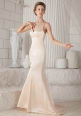 Mermaid Sweep Train Champagne Prom Dress With Spaghetti Straps