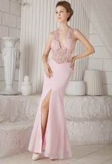 Sexy Halter See-through Blouses Mermaid Prom Dress With Split