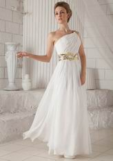 Single Shoulder Floor-length White Chiffon Prom Dress With Split