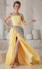 Cheap Strapless Yellow Amazing Prom Dresses With Front Split Skirt