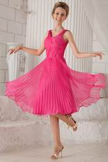 Empire Straps Tea-length Hot Pink Organza Pleated Prom Dress