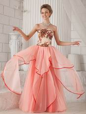 Pink Strapless Printed Floor-length Layers Butterfly Prom Dress