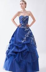 Mineral Blue Prom Ball Gown With Embroidery Details