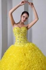 Light Yellow Corset Back Ruffles Skirt Quiceanera Dress