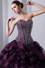 Sweetheart Ruffles Skirt Grape Quinceanera s Dresses Cheap