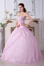 Inexpensive Embroidery Pink Quinceanera Dress Gown