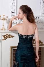 Modest Strapless Atrovirens Green Evening Party Dress